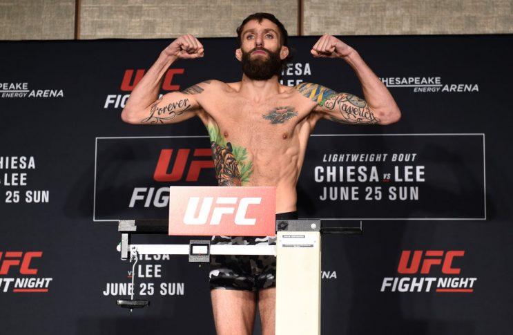 UFCファイトナイト・オクラホマシティ:公式計量に登場したマイケル・キエーザ【オクラホマ州・アメリカ/2017年6月24日(Photo by Brandon Magnus/Zuffa LLC/Zuffa LLC via Getty Images)】