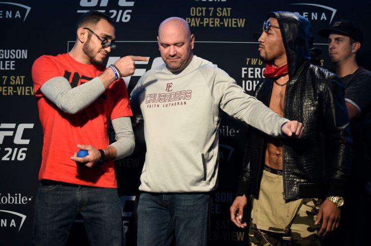 UFC 216:トニー・ファーガソンとケビン・リー【2017年10月4日、アメリカ・ネバダ州ラスベガス(Photo by Brandon Magnus/Zuffa LLC/Zuffa LLC via Getty Images)】