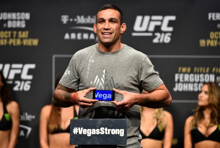 UFC 216:公式計量セレモニーに登場したファブリシオ・ヴェウドゥム【アメリカ・ネバダ州ラスベガス/2017年10月6日(Photo by Jeff Bottari/Zuffa LLC/Zuffa LLC via Getty Images)】