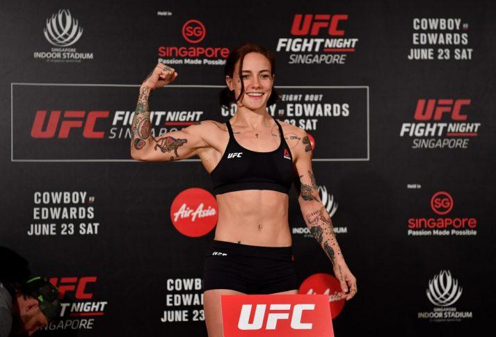 UFCファイトナイト・シンガポール:公式計量に登場したジェシカ・ローズ・クラーク【シンガポール・シンガポール/2018年6月22日(Photo by Jeff Bottari/Zuffa LLC/Zuffa LLC via Getty Images)】