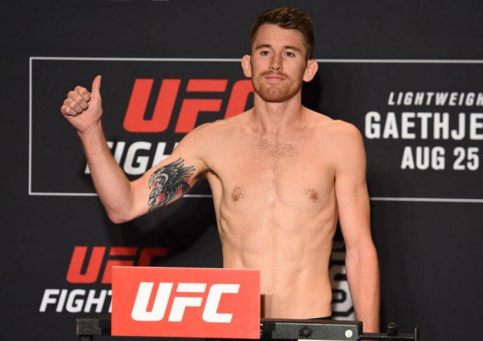 UFCファイトナイト・リンカーン:公式計量に登場したコーリー・サンドヘイゲン【アメリカ・ネブラスカ州リンカーン/2018年8月24日(Photo by Josh Hedges/Zuffa LLC/Zuffa LLC via Getty Images)】