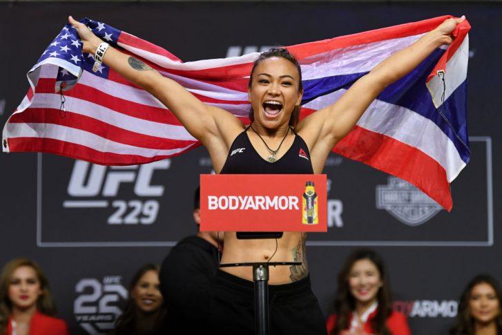 UFC 229:公式計量セレモニーに登場したミシェル・ウォーターソン【アメリカ・ネバダ州ラスベガス/2018年10月5日(Photo by Josh Hedges/Zuffa LLC/Zuffa LLC via Getty Images)】
