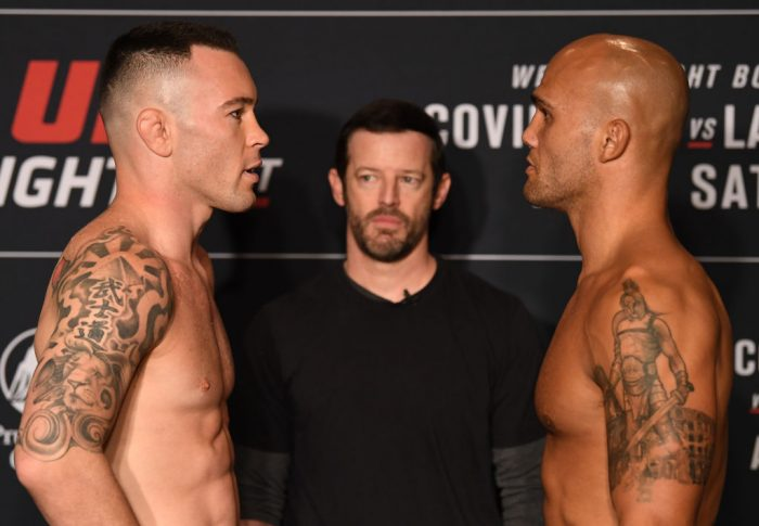 UFCファイトナイト・ニューアーク:フェイスオフに臨んだコルビー・コビントンとロビー・ローラー【アメリカ・ニュージャージー州ニューアーク/2019年8月2日(Photo by Josh Hedges/Zuffa LLC/Zuffa LLC)】