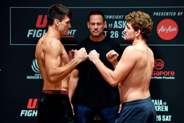 UFCファイトナイト・シンガポール:フェイスオフに臨んだデミアン・マイアとベン・アスクレン【シンガポール・シンガポール/2019年10月25日(Photo by Jeff Bottari/Zuffa LLC via Getty Images)】