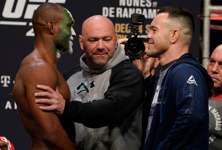 UFC 245:フェイスオフに臨んだカマル・ウスマンとコルビー・コビントン【アメリカ・ネバダ州ラスベガス/2019年12月13日(Photo by Jeff Bottari/Zuffa LLC via Getty Images)】
