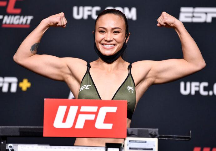 UFCファイトナイト・ラスベガス26:公式計量に臨んだミシェル・ウォーターソン【アメリカ・ネバダ州ラスベガス/2021年5月7日(Photo by Chris Unger/Zuffa LLC)】